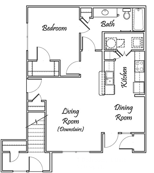 One Bedroom / One Bath - Downstairs Only - 710 Sq. Ft.*