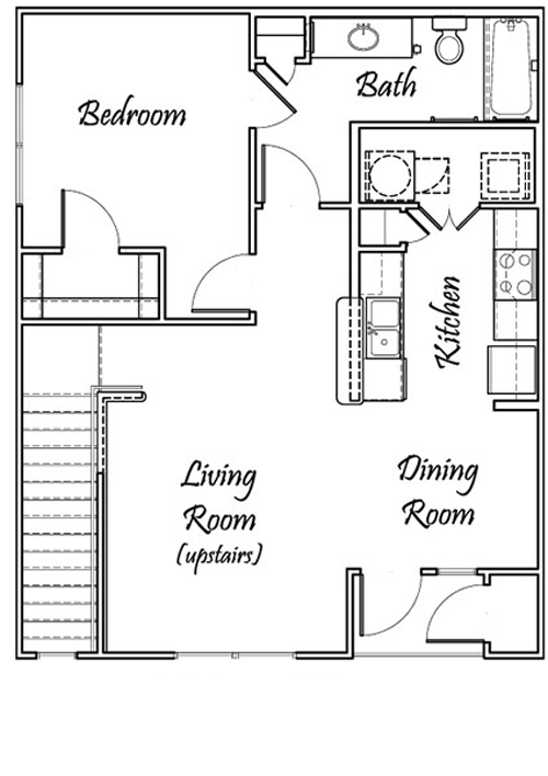 One Bedroom / One Bath - Upstairs Only - 710 Sq. Ft.*