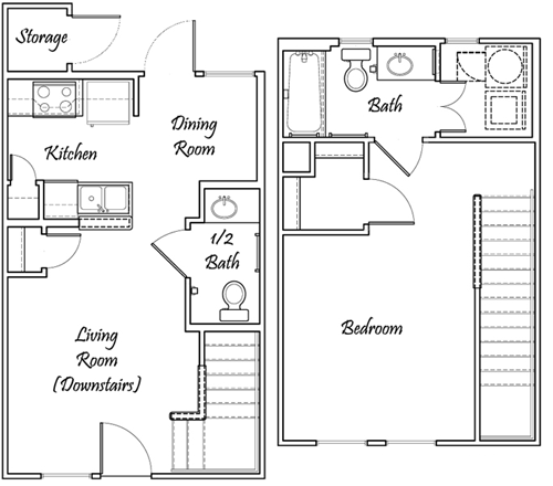 One Bedroom / One and 1/2 Bath - Townhome Bi-Level - 710 Sq. Ft.*