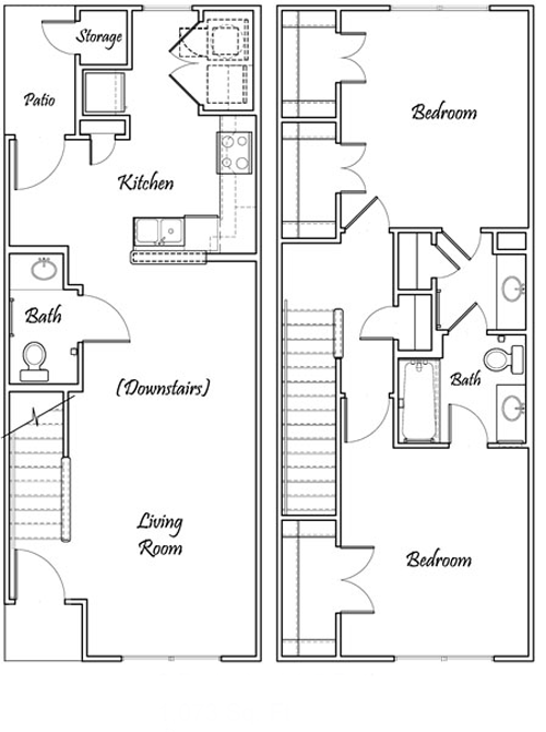 Two Bedroom / One and 1/2 Bath - Townhome Bi-Level - 1,073 Sq. Ft.*