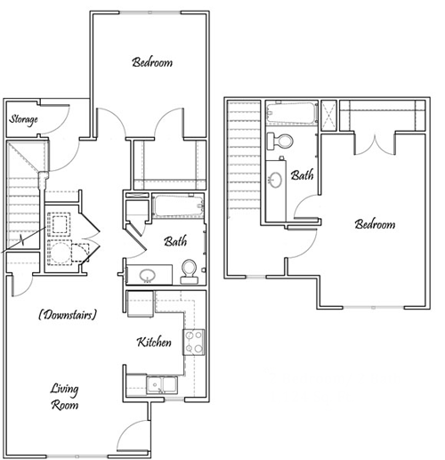 Two Bedroom / Two Bath - Townhome Bi-Level - 1,124 Sq. Ft.*