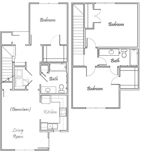 Three Bedroom / Two Bath - Townhome Bi-Level - 1,338 Sq. Ft.*