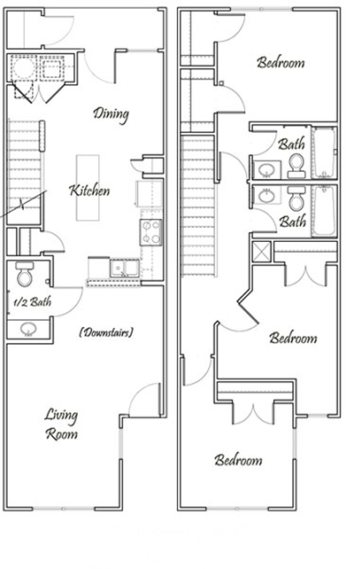 Three Bedroom / Two Bath - Townhome Bi-Level - 1,306 Sq. Ft.*